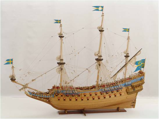 A model of the Vasa, a Swedish warship from the 1620s. (Image from www.modelships.de).